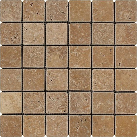2 X 2 Noce Travertine Tumbled Mosaic Tile - American Tile Depot - Shower, Backsplash, Bathroom, Kitchen, Deck & Patio, Decorative, Floor, Wall, Ceiling, Powder Room, Indoor, Outdoor, Commercial, Residential, Interior, Exterior