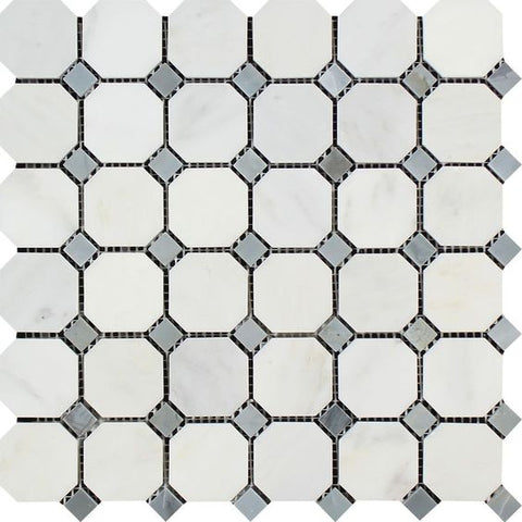Oriental White / Asian Statuary Marble Polished Octagon Mosaic Tile w/ Blue Gray Dots