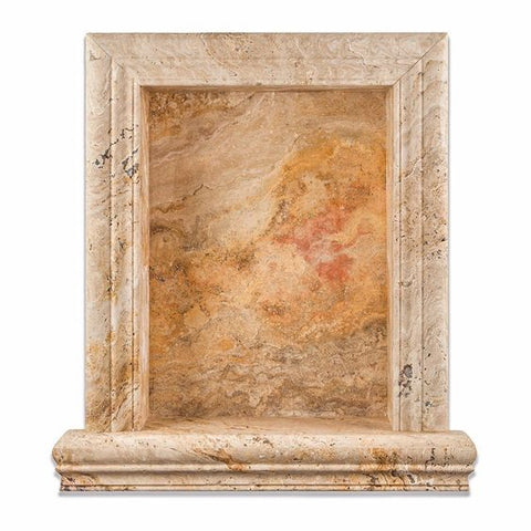 Valencia Travertine Hand-Made Custom Shampoo Niche / Shelf - LARGE - Honed