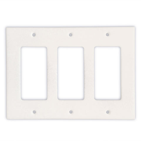 Thassos White Marble Triple Rocker Switch Wall Plate / Switch Plate / Cover - Honed