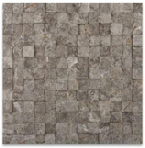 1 X 1 Tundra Gray (Atlantic Gray) Marble Split & Faced Mosaic Tile