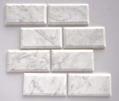 3 x 6 Bianco Venatino (Bianco Mare) Marble Honed & Deep-Beveled Field Tile - American Tile Depot - Shower, Backsplash, Bathroom, Kitchen, Deck & Patio, Decorative, Floor, Wall, Ceiling, Powder Room, Indoor, Outdoor, Commercial, Residential, Interior, Exterior