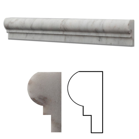 Bianco Venatino (Bianco Mare) Marble Honed OG-1 Chair Rail Molding Trim
