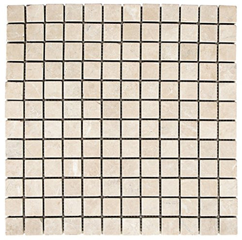 1 X 1 White Pearl / Botticino Marble Polished Mosaic Tile - American Tile Depot - Shower, Backsplash, Bathroom, Kitchen, Deck & Patio, Decorative, Floor, Wall, Ceiling, Powder Room, Indoor, Outdoor, Commercial, Residential, Interior, Exterior