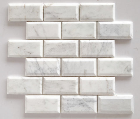 2 x 4 Bianco Venatino (Bianco Mare) Marble Polished & Beveled Brick Mosaic Tile - American Tile Depot - Shower, Backsplash, Bathroom, Kitchen, Deck & Patio, Decorative, Floor, Wall, Ceiling, Powder Room, Indoor, Outdoor, Commercial, Residential, Interior, Exterior