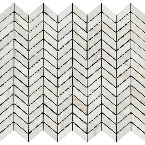 Calacatta Gold Marble Honed Mini Chevron Mosaic Tile