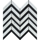 Carrara White Marble Polished Large Chevron Mosaic Tile w / Black Strips