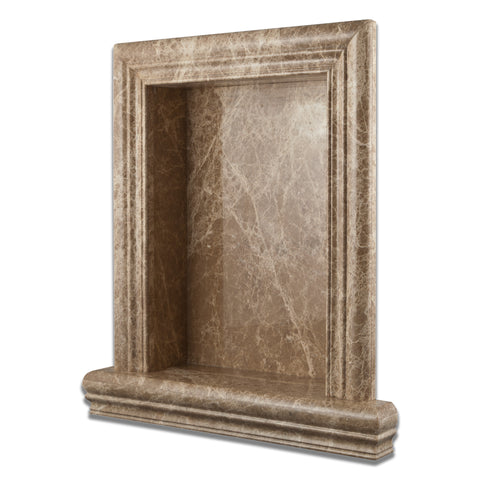 Emperador Light Marble Hand-Made Custom Shampoo Niche / Shelf - LARGE - Polished