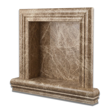 Emperador Light  Marble Hand-Made Custom Shampoo Niche / Shelf - SMALL - Polished