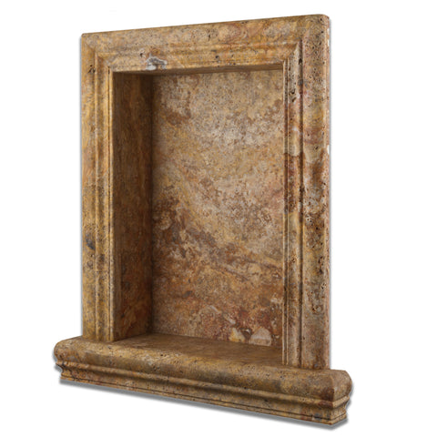 Scabos Travertine Hand-Made Custom Shampoo Niche / Shelf - LARGE - Honed - American Tile Depot - Commercial and Residential (Interior & Exterior), Indoor, Outdoor, Shower, Backsplash, Bathroom, Kitchen, Deck & Patio, Decorative, Floor, Wall, Ceiling, Powder Room - 1