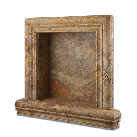 Scabos Travertine Hand-Made Custom Shampoo Niche / Shelf - SMALL - Honed - American Tile Depot - Commercial and Residential (Interior & Exterior), Indoor, Outdoor, Shower, Backsplash, Bathroom, Kitchen, Deck & Patio, Decorative, Floor, Wall, Ceiling, Powder Room - 1