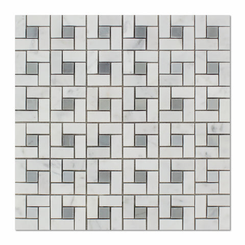 Carrara White Marble Polished Pinwheel Mosaic Tile w/ Blue-Gray Dots - American Tile Depot - Commercial and Residential (Interior & Exterior), Indoor, Outdoor, Shower, Backsplash, Bathroom, Kitchen, Deck & Patio, Decorative, Floor, Wall, Ceiling, Powder Room - 1