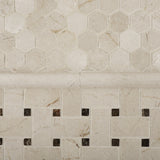 Crema Marfil Marble Polished Basketweave Mosaic Tile w/ Emperador Dark Dots - American Tile Depot - Commercial and Residential (Interior & Exterior), Indoor, Outdoor, Shower, Backsplash, Bathroom, Kitchen, Deck & Patio, Decorative, Floor, Wall, Ceiling, Powder Room - 6