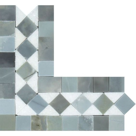 Thassos White Marble Honed BIAS Border Corner Listello w/ Blue Gray Dots