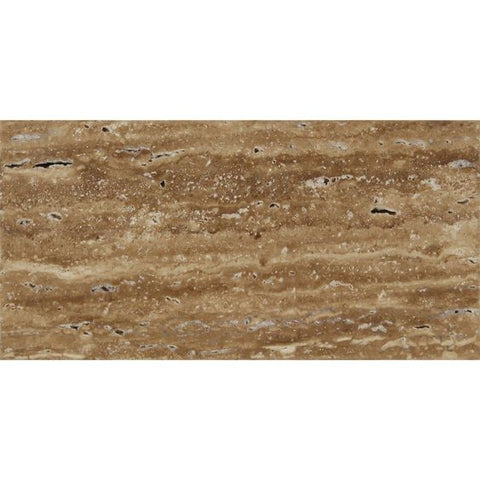 3 X 6 Noce Exotic Travertine (Vein-Cut) Polished & Unfilled Brick Mosaic Tile
