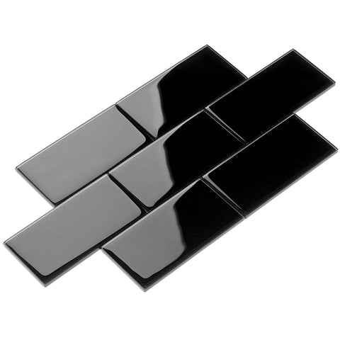 3 X 6 Black Glass Subway Tile - American Tile Depot - Shower, Backsplash, Bathroom, Kitchen, Deck & Patio, Decorative, Floor, Wall, Ceiling, Powder Room, Indoor, Outdoor, Commercial, Residential, Interior, Exterior