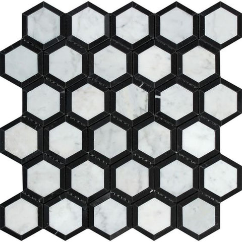 "Carrara White Marble Honed 2"" Vortex Hexagon Mosaic Tile w / Black"