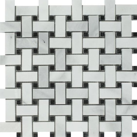 Bianco Venatino (Bianco Mare) Marble Polished Basketweave Mosaic Tile w/ Black Dots