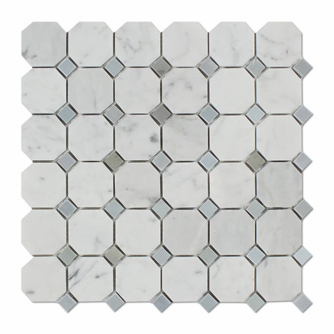 Carrara White Marble Polished Octagon Mosaic Tile w/ Blue-Gray Dots - American Tile Depot - Commercial and Residential (Interior & Exterior), Indoor, Outdoor, Shower, Backsplash, Bathroom, Kitchen, Deck & Patio, Decorative, Floor, Wall, Ceiling, Powder Room - 1
