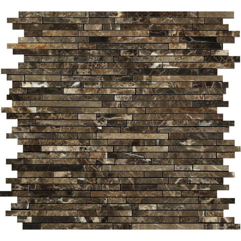 Emperador Dark Marble Polished Bamboo Sticks Mosaic Tile