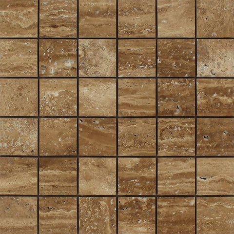2 X 2 Noce Exotic Travertine (Vein-Cut) Brushed & Unfilled Mosaic Tile - American Tile Depot - Shower, Backsplash, Bathroom, Kitchen, Deck & Patio, Decorative, Floor, Wall, Ceiling, Powder Room, Indoor, Outdoor, Commercial, Residential, Interior, Exterior