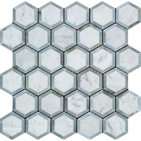 "Carrara White Marble Polished 2"" Vortex Hexagon Mosaic Tile w / Blue Gray Dots"