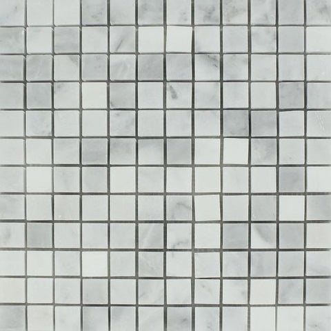 1 X 1 Bianco Venatino (Bianco Mare) Marble Polished Mosaic Tile - American Tile Depot - Shower, Backsplash, Bathroom, Kitchen, Deck & Patio, Decorative, Floor, Wall, Ceiling, Powder Room, Indoor, Outdoor, Commercial, Residential, Interior, Exterior