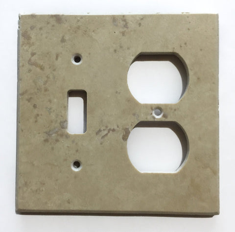 Light Walnut Travertine Toggle Duplex Switch Wall Plate / Switch Plate / Cover - Honed - American Tile Depot - Commercial and Residential (Interior & Exterior), Indoor, Outdoor, Shower, Backsplash, Bathroom, Kitchen, Deck & Patio, Decorative, Floor, Wall, Ceiling, Powder Room - 1