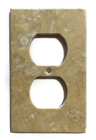 Light Walnut Travertine Single Duplex Switch Wall Plate / Switch Plate / Cover - Honed - American Tile Depot - Commercial and Residential (Interior & Exterior), Indoor, Outdoor, Shower, Backsplash, Bathroom, Kitchen, Deck & Patio, Decorative, Floor, Wall, Ceiling, Powder Room - 1