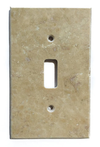 Light Walnut Travertine Single Toggle Switch Wall Plate / Switch Plate / Cover - Honed - American Tile Depot - Commercial and Residential (Interior & Exterior), Indoor, Outdoor, Shower, Backsplash, Bathroom, Kitchen, Deck & Patio, Decorative, Floor, Wall, Ceiling, Powder Room - 1