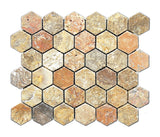 Scabos Travertine Tumbled 2'' Hexagon Mosaic Tile - American Tile Depot - Commercial and Residential (Interior & Exterior), Indoor, Outdoor, Shower, Backsplash, Bathroom, Kitchen, Deck & Patio, Decorative, Floor, Wall, Ceiling, Powder Room - 1