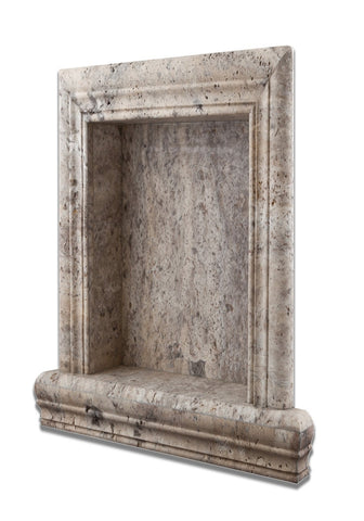 Silver Travertine Hand-Made Custom Shampoo Niche / Shelf - LARGE - Honed
