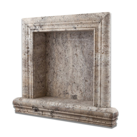 Silver Travertine Hand-Made Custom Shampoo Niche / Shelf - SMALL - Honed