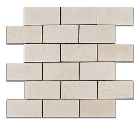 2 X 4 White Pearl / Botticino Marble Polished Brick Mosaic Tile - American Tile Depot - Shower, Backsplash, Bathroom, Kitchen, Deck & Patio, Decorative, Floor, Wall, Ceiling, Powder Room, Indoor, Outdoor, Commercial, Residential, Interior, Exterior