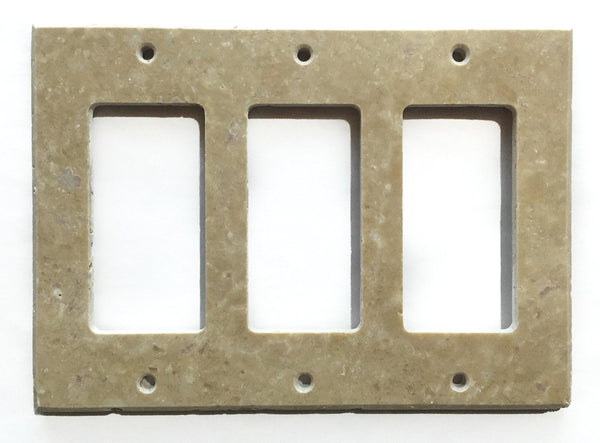 Light Walnut Travertine Triple Rocker Switch Wall Plate