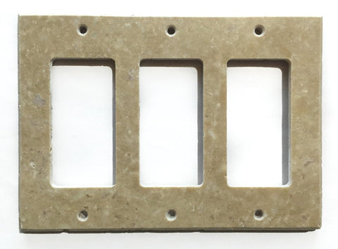 Light Walnut Travertine Triple Rocker Switch Wall Plate / Switch Plate / Cover - Honed - American Tile Depot - Commercial and Residential (Interior & Exterior), Indoor, Outdoor, Shower, Backsplash, Bathroom, Kitchen, Deck & Patio, Decorative, Floor, Wall, Ceiling, Powder Room - 1