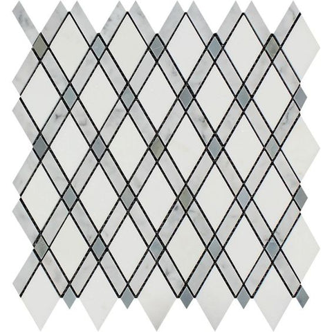 Carrara White Marble Polished Lattice Mosaic Tile w / Blue Gray Dots