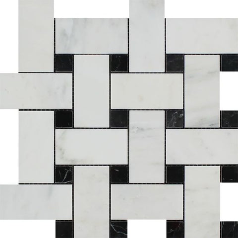 Oriental White / Asian Statuary Marble Honed Large Basketweave Mosaic Tile w / Black Dots