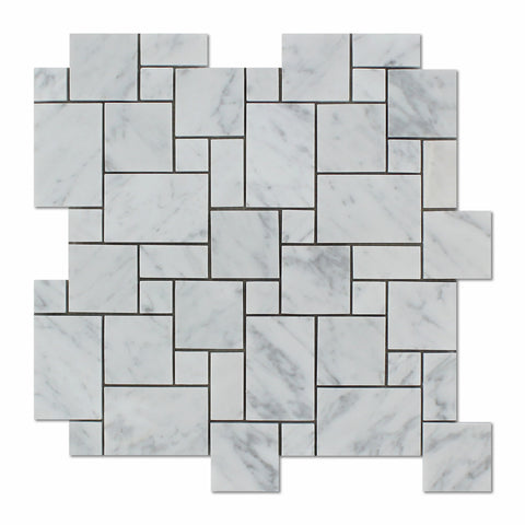 Carrara White Marble Polished Mini Versailles Mosaic Tile - American Tile Depot - Commercial and Residential (Interior & Exterior), Indoor, Outdoor, Shower, Backsplash, Bathroom, Kitchen, Deck & Patio, Decorative, Floor, Wall, Ceiling, Powder Room - 1