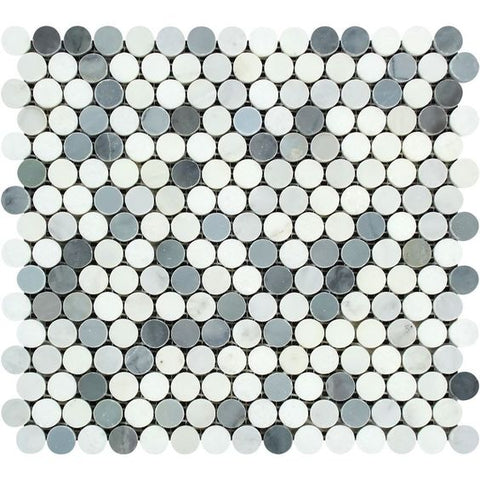 Oriental White / Asian Statuary Marble Honed Penny Round Mosaic Tile w / Blue Gray Dots