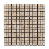 5/8 X 5/8 Durango Cream Travertine Mosaic Tile Tumbled american-tile-depot