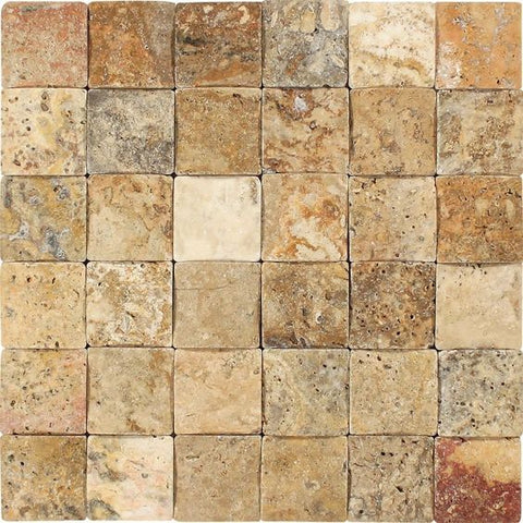 2 X 2 Scabos Travertine Tumbled CNC Arched 3-D Mosaic Tile - American Tile Depot - Shower, Backsplash, Bathroom, Kitchen, Deck & Patio, Decorative, Floor, Wall, Ceiling, Powder Room, Indoor, Outdoor, Commercial, Residential, Interior, Exterior