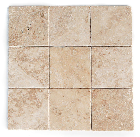 4 X 4 Cappuccino Marble Tumbled Field Tile - American Tile Depot - Shower, Backsplash, Bathroom, Kitchen, Deck & Patio, Decorative, Floor, Wall, Ceiling, Powder Room, Indoor, Outdoor, Commercial, Residential, Interior, Exterior