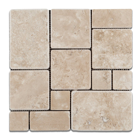 Durango Cream Travertine 4-Pieced OPUS Mini-Pattern Tumbled Mosaic Tile
