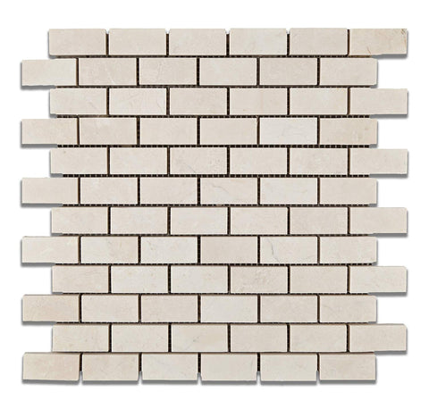 1 X 2 White Pearl / Botticino Marble Polished Brick Mosaic Tile - American Tile Depot - Shower, Backsplash, Bathroom, Kitchen, Deck & Patio, Decorative, Floor, Wall, Ceiling, Powder Room, Indoor, Outdoor, Commercial, Residential, Interior, Exterior