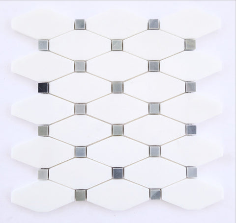 Thassos White Marble Polished Octave Pattern Mosaic Tile w/ Blue-Gray Dots - American Tile Depot - Commercial and Residential (Interior & Exterior), Indoor, Outdoor, Shower, Backsplash, Bathroom, Kitchen, Deck & Patio, Decorative, Floor, Wall, Ceiling, Powder Room - 1