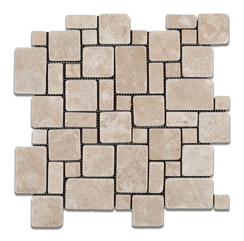 Durango Cream Travertine Tumbled Mini Versailles Mosaic Tile