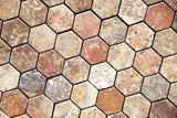 Scabos Travertine Tumbled 2'' Hexagon Mosaic Tile - American Tile Depot - Commercial and Residential (Interior & Exterior), Indoor, Outdoor, Shower, Backsplash, Bathroom, Kitchen, Deck & Patio, Decorative, Floor, Wall, Ceiling, Powder Room - 3