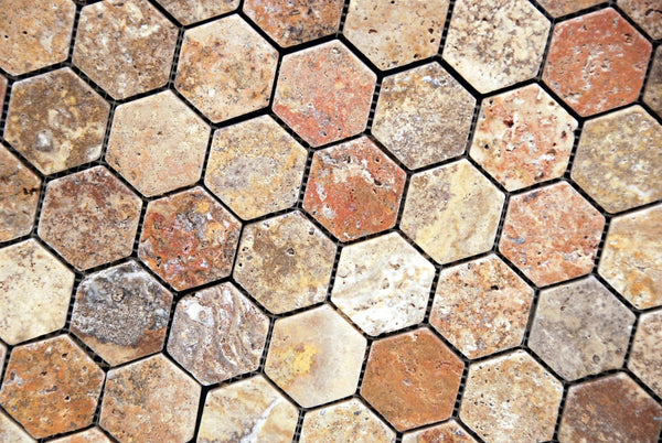 Scabos Travertine 2 Hexagon Mosaic Tile Tumbled