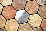 Scabos Travertine Tumbled 2'' Hexagon Mosaic Tile - American Tile Depot - Commercial and Residential (Interior & Exterior), Indoor, Outdoor, Shower, Backsplash, Bathroom, Kitchen, Deck & Patio, Decorative, Floor, Wall, Ceiling, Powder Room - 2
